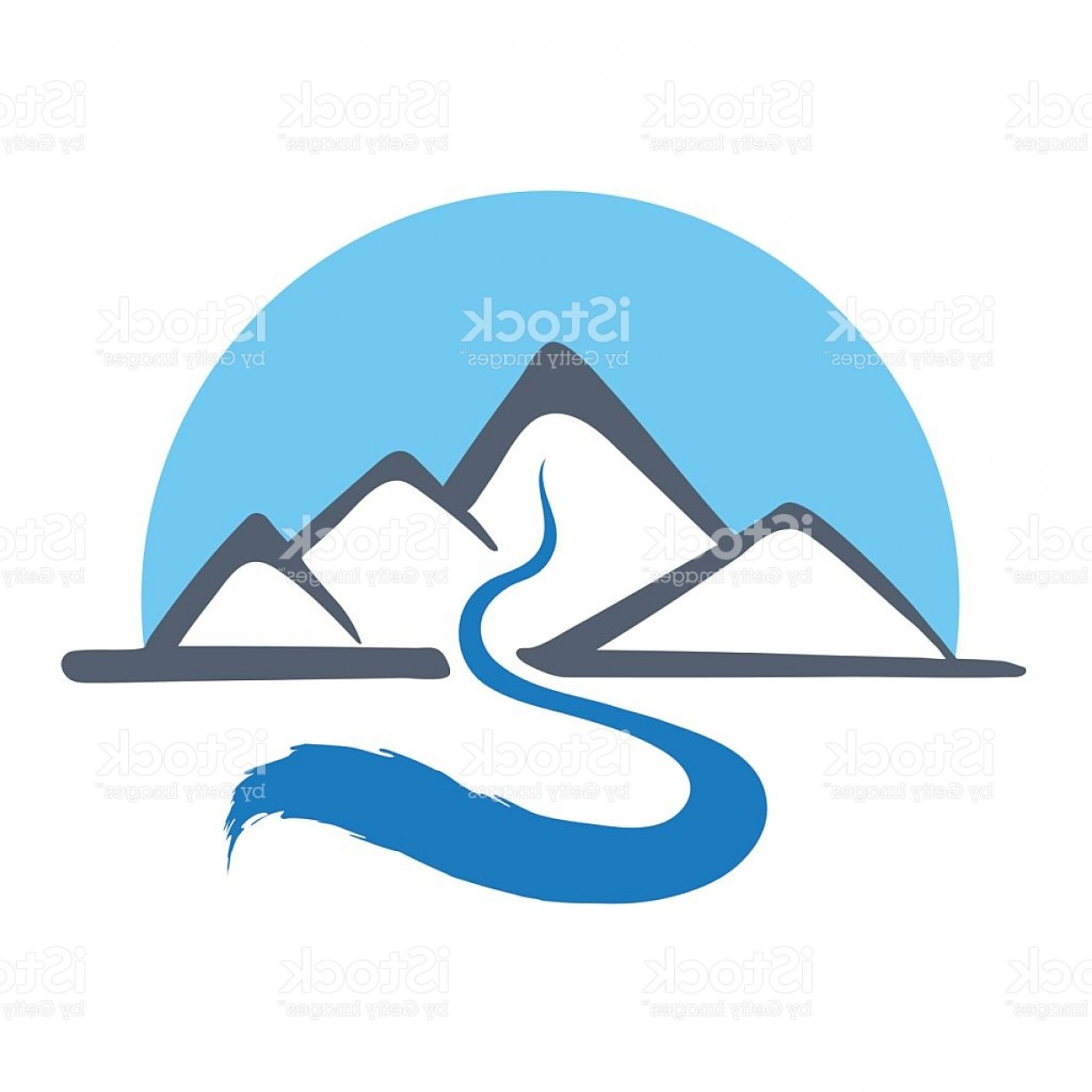 River Silhouette Vector Art: Mountain River Vector Logo Illustration Gm
