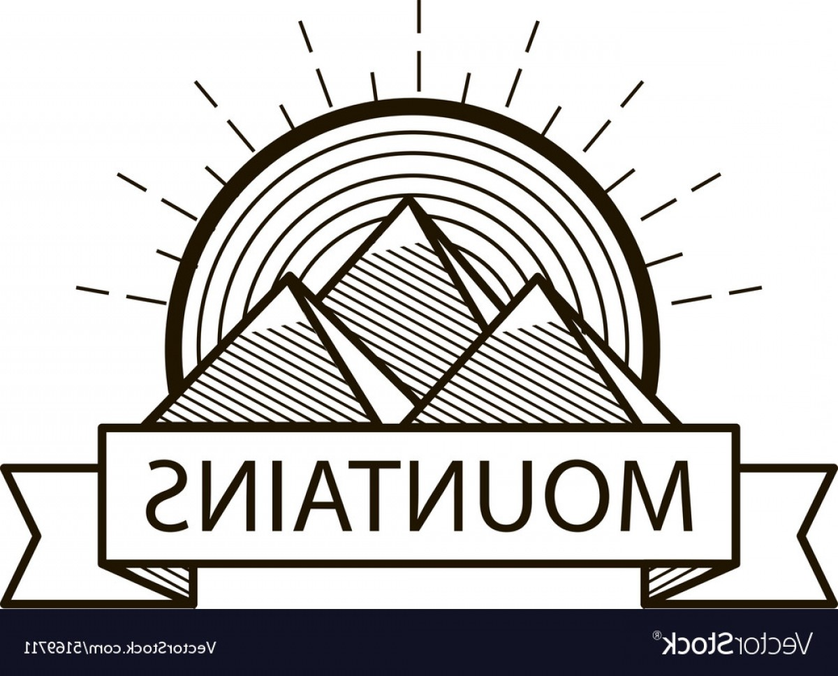 Hipster Logo Vectors Mountain: Mountains Line Hipster Logo Icon Badge Vector