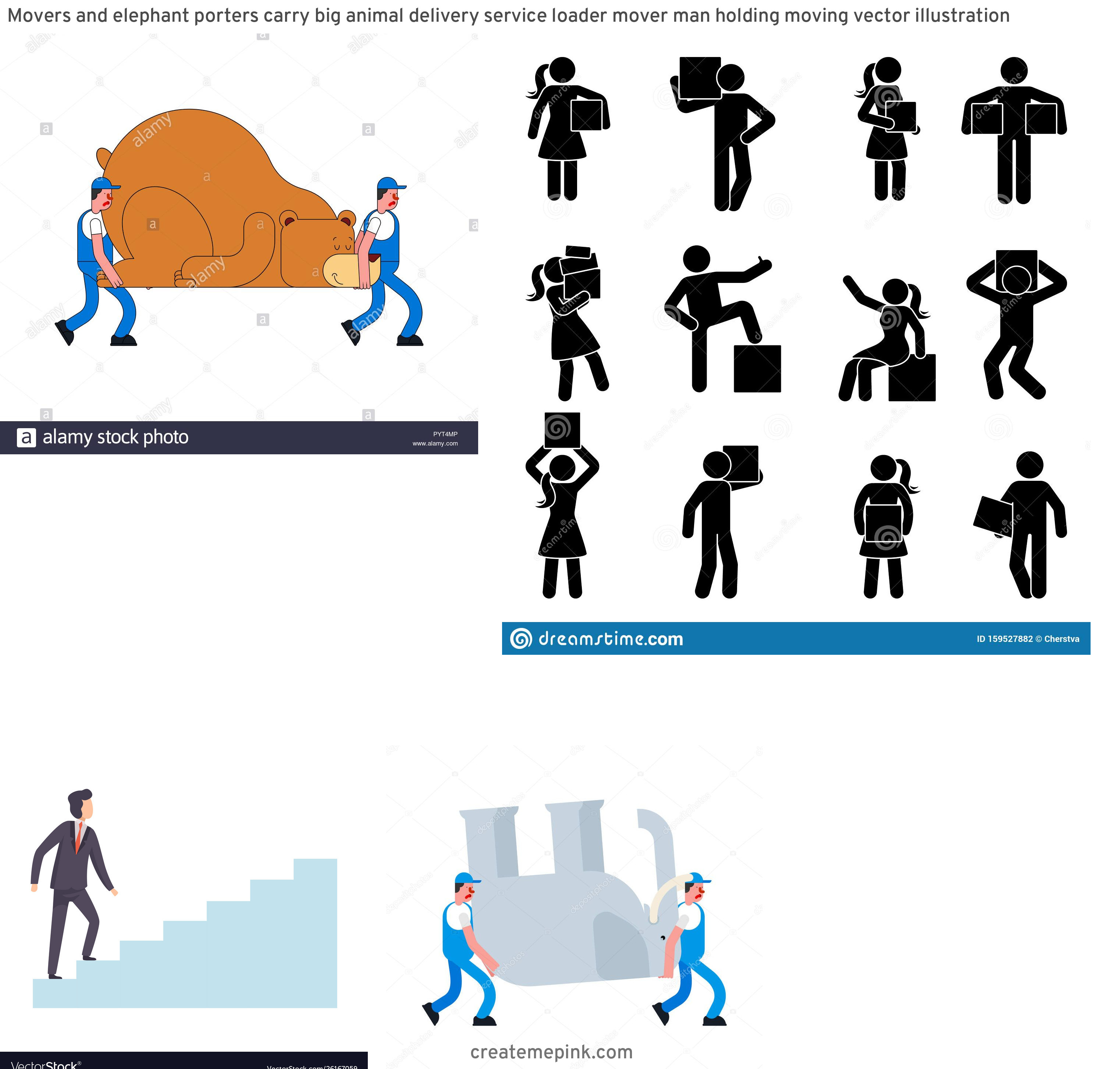 Vector Person Moving: Movers And Elephant Porters Carry Big Animal Delivery Service Loader Mover Man Holding Moving Vector Illustration