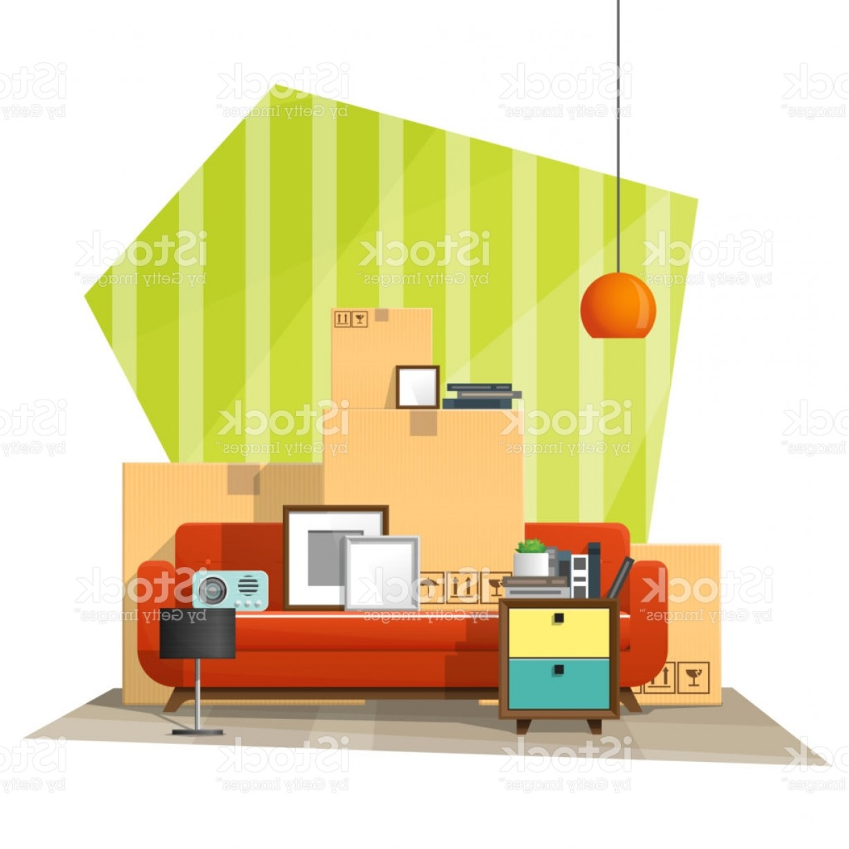 Vector Background For Living Room: Moving Home Concept Background With Cardboard Boxes And Furniture In New Living Room Gm