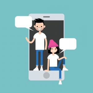 Millennial Vector: Mobile Messenger Concept Millennial Friends Vector
