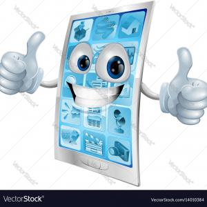 Double Thumbs Vector: Mobile Phone Mascot Double Thumbs Up Vector