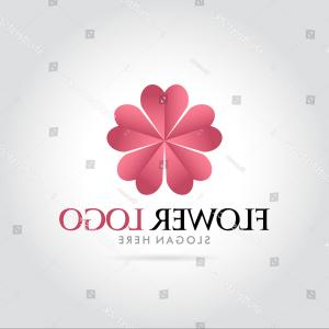 Modern Flower Logo Vector: Logo Flower Shop Arrangement Pink Peonies