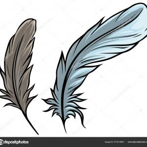 Bird Feather Vector: Monochrome Black And White Bird Feather Vector Sketched Art Gm