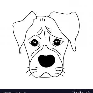 Bpxer Vector Art Happy Dog: Monochrome Boxer Dog Cute Head And Expression Vector