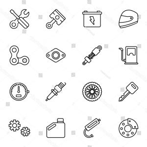 Vector Motorcycle Parts: Motorcycle Parts Vector Icons Details Attributes