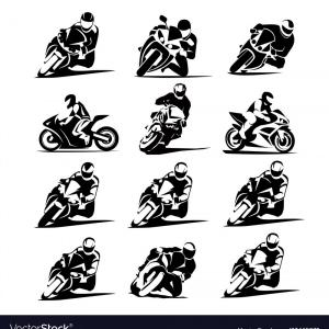 Moto Icon Vector: Motorcycle Racer Set Eps Moto Gp Icons Vector