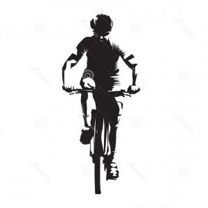 MTB Vector: Mountain Biker Front View Abstract Vector Silhouette Mtb Rider Ink Drawing Individual Sport Mountain Biker Front View Abstract Image