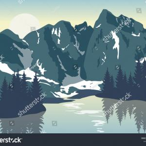 Sunrise Lake Vector Logo: Mountain Graphic Design Template Vector Isolated Illustration Logo Nature Silhouette Vacation Tree Wood View Lake Sunrise Water Image
