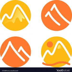 White Orange Vector: Mountain Icons Set Isolated On White Orange Vector