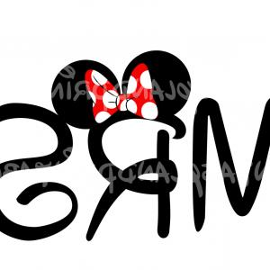 Minnie Vector Black And White: Mr Mrs Disney Logo Clipart