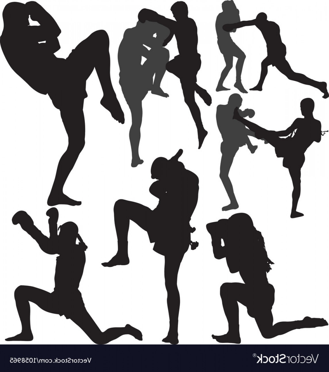 UFC Kick Vector: Muay Thai Fighters Silhouette Vector