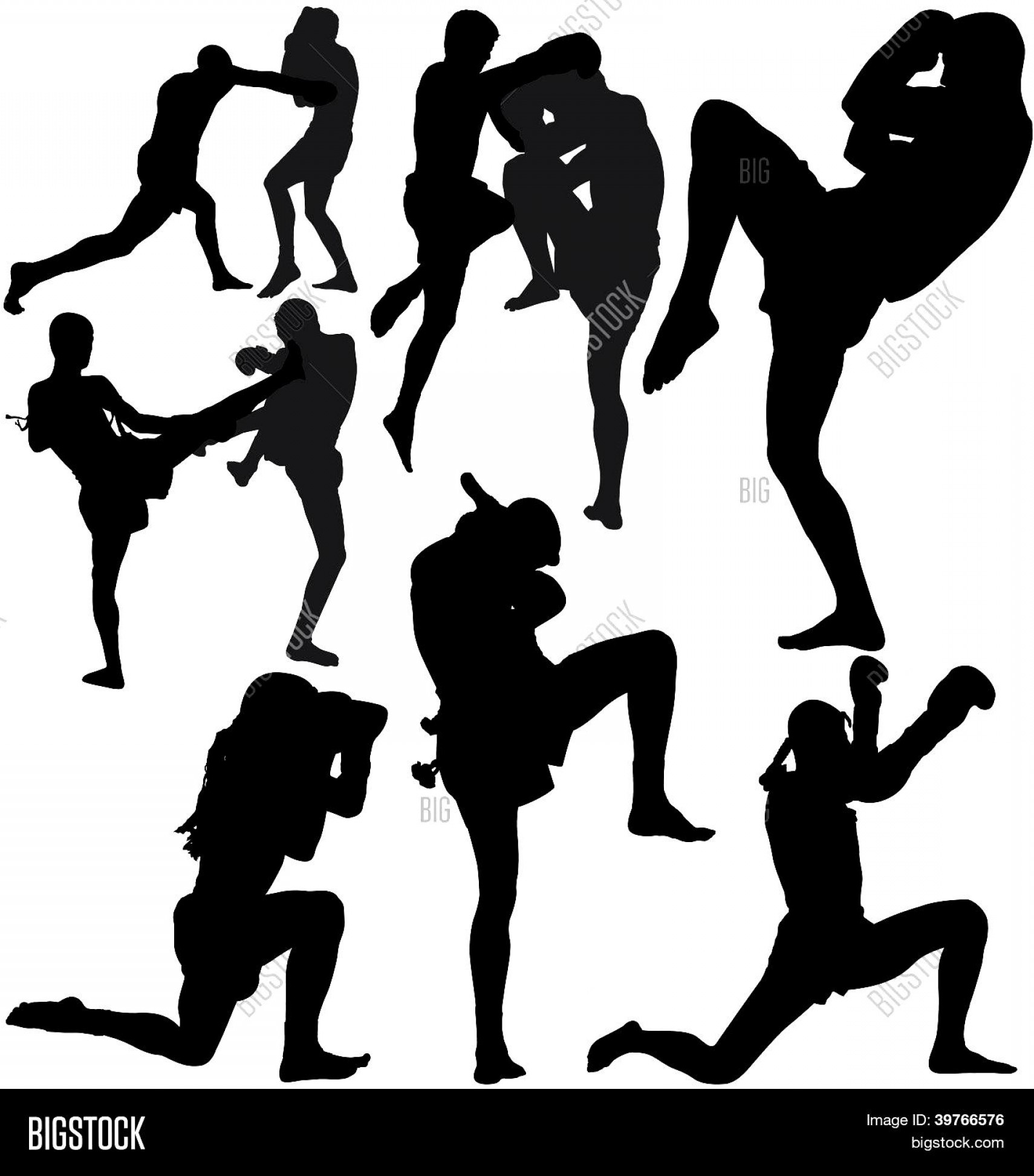 UFC Kick Vector: Muay Thai Thai Boxing Vector Silhouettes