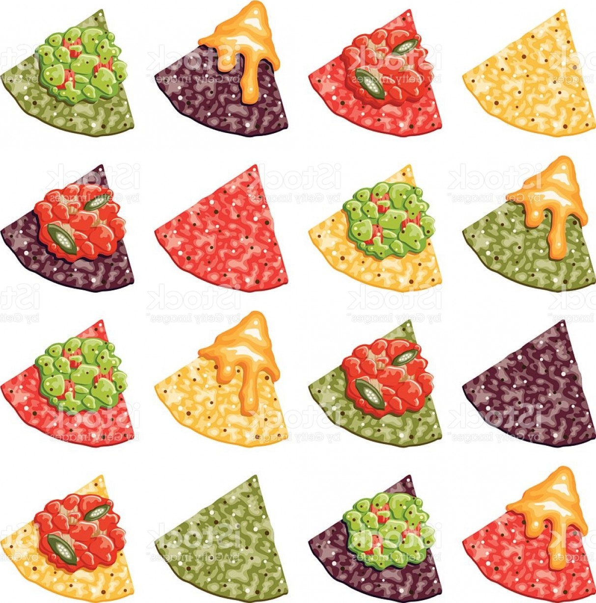 Chips Queso Vector: Multicolor Nacho Corn Chip Icons With Toppings Gm