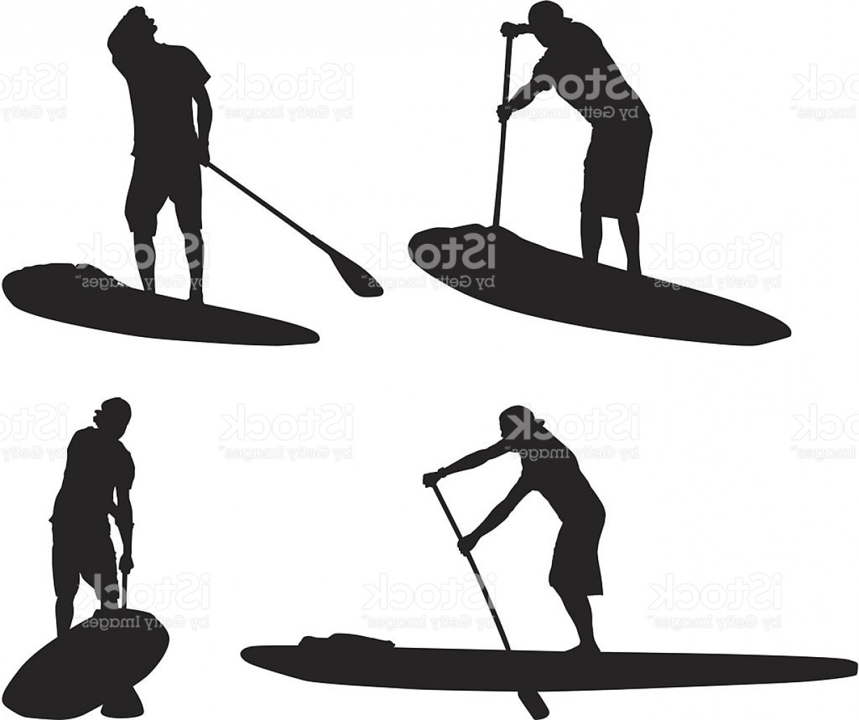 Stand Up Paddle Boarder Vector: Multiple Silhouettes Of Man On Paddleboard Gm