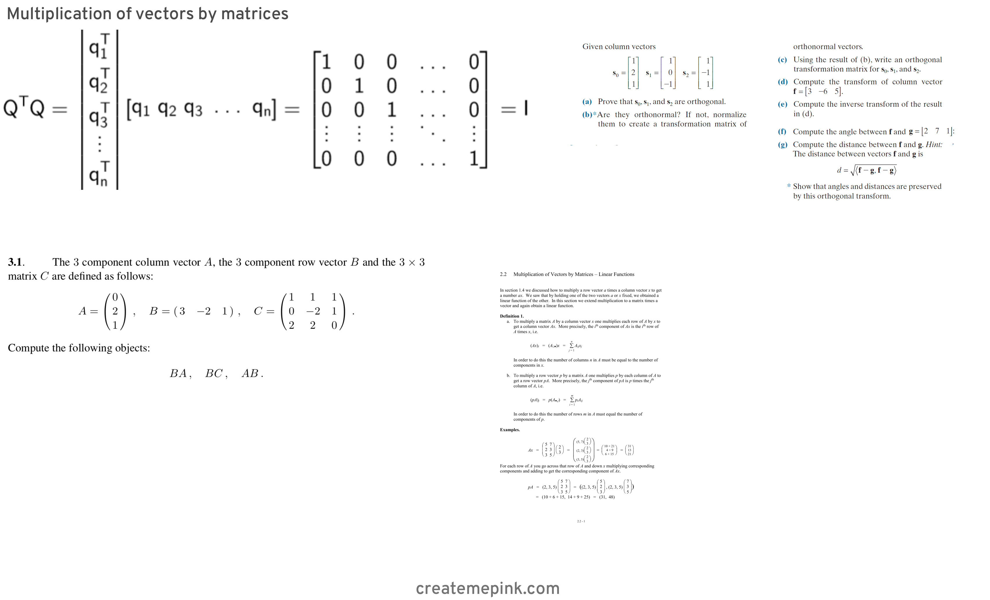 Column Vector Matrix: Multiplication Of Vectors By Matrices