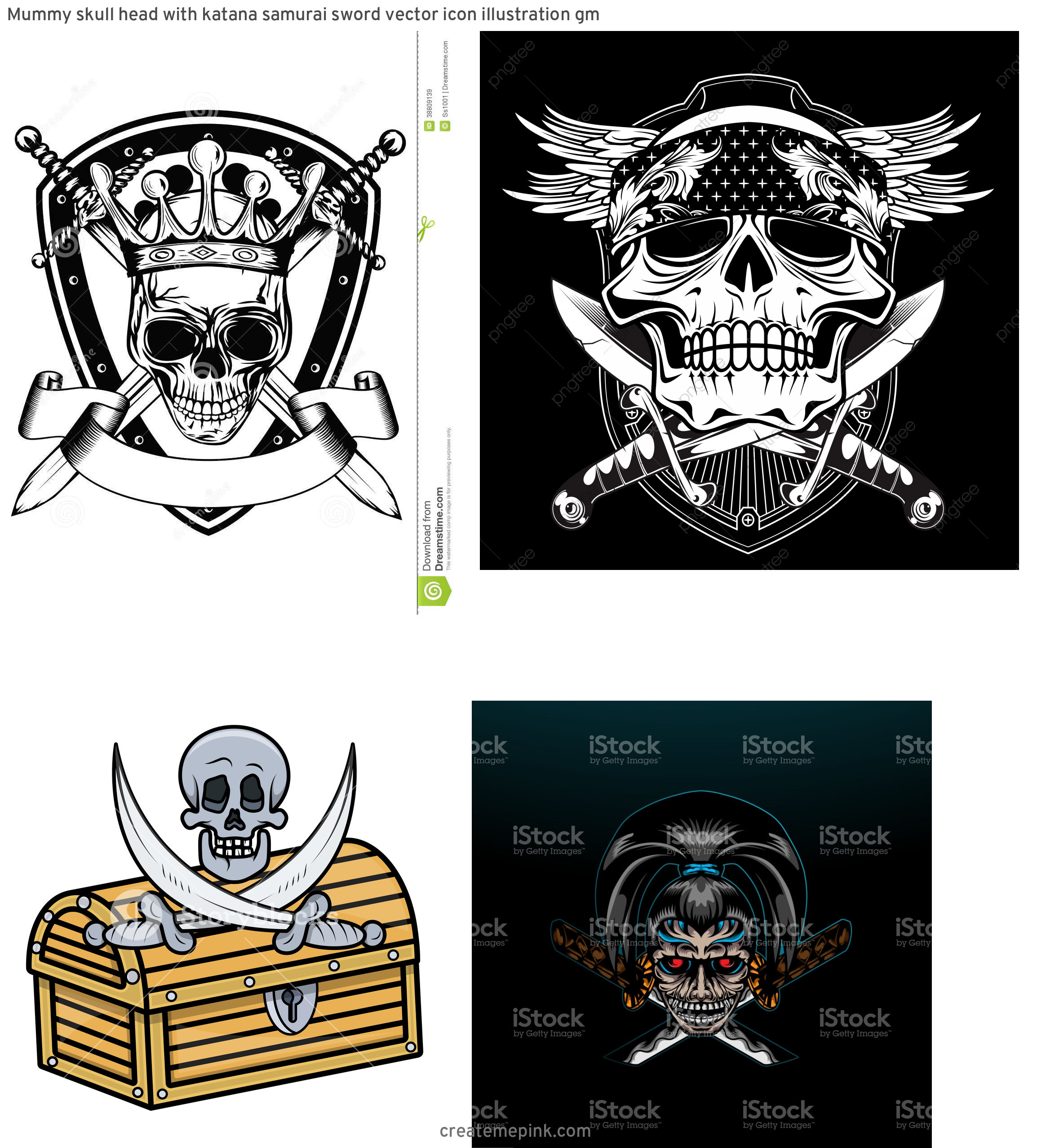 Skull Sword Vector: Mummy Skull Head With Katana Samurai Sword Vector Icon Illustration Gm