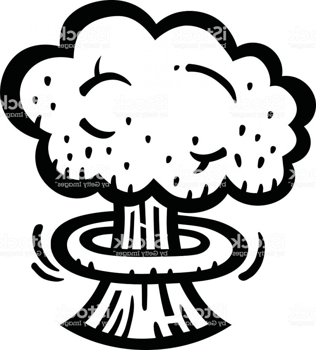 Atomic Bomb Explosion Vector: Mushroom Cloud Atomic Nuclear Bomb Explosion Fallout Vector Icon Gm