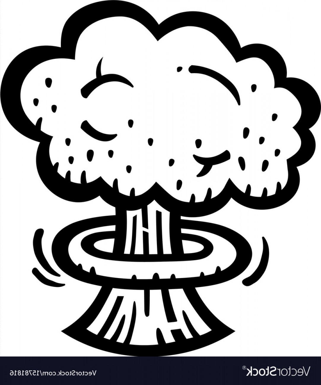 Atomic Vector Coud: Mushroom Cloud Atomic Nuclear Bomb Explosion Vector