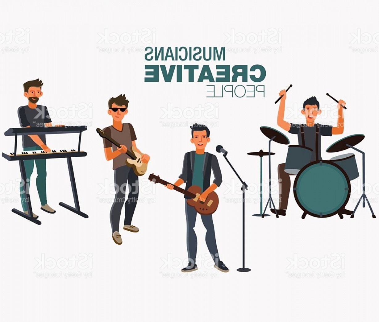 Musician Person Vector: Music Band Group Of Young Rock Musician Gm