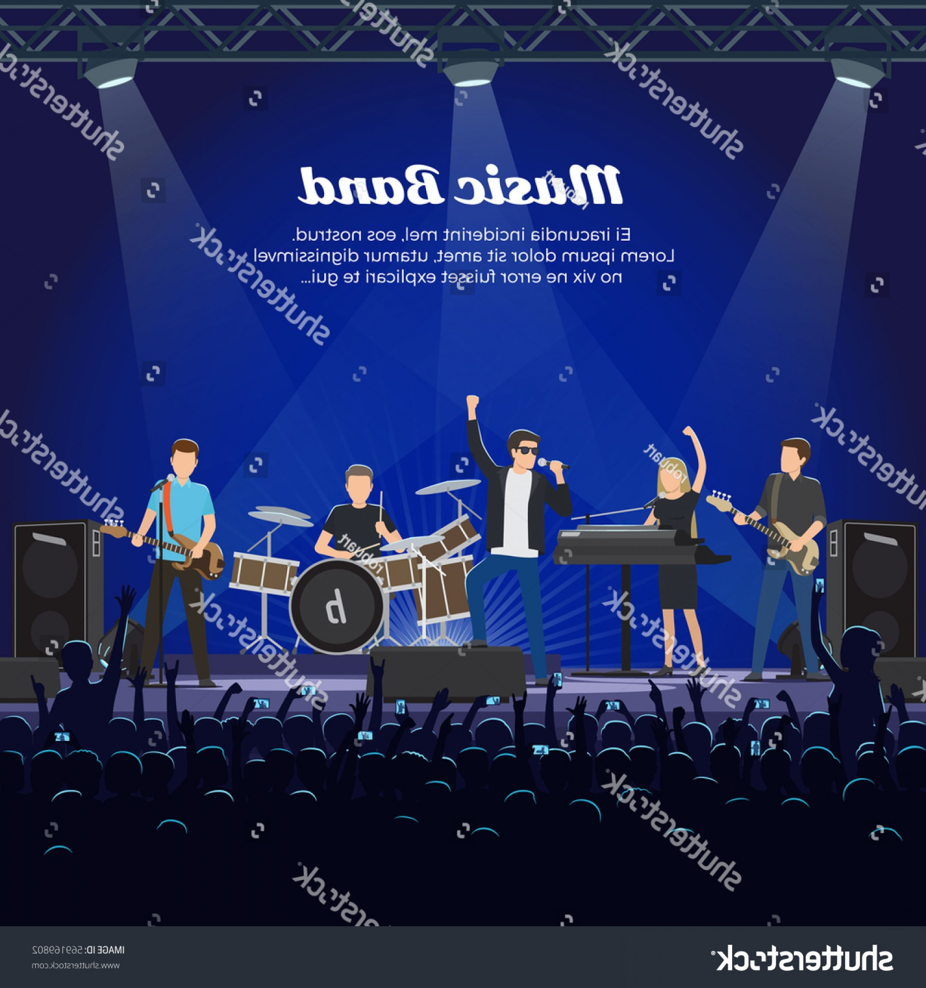 Singer Prince Symbol Vector: Music Band On Stage Many Spectators