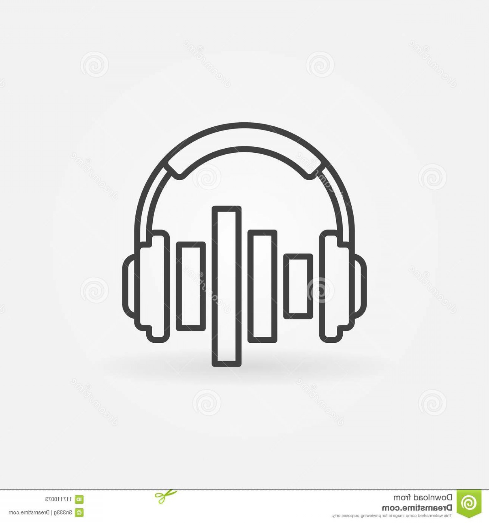 Equalizer Vector Icons: Music Headphones Equalizer Vector Concept Icon Design Element Outline Style Music Headphones Equalizer Vector Icon Image