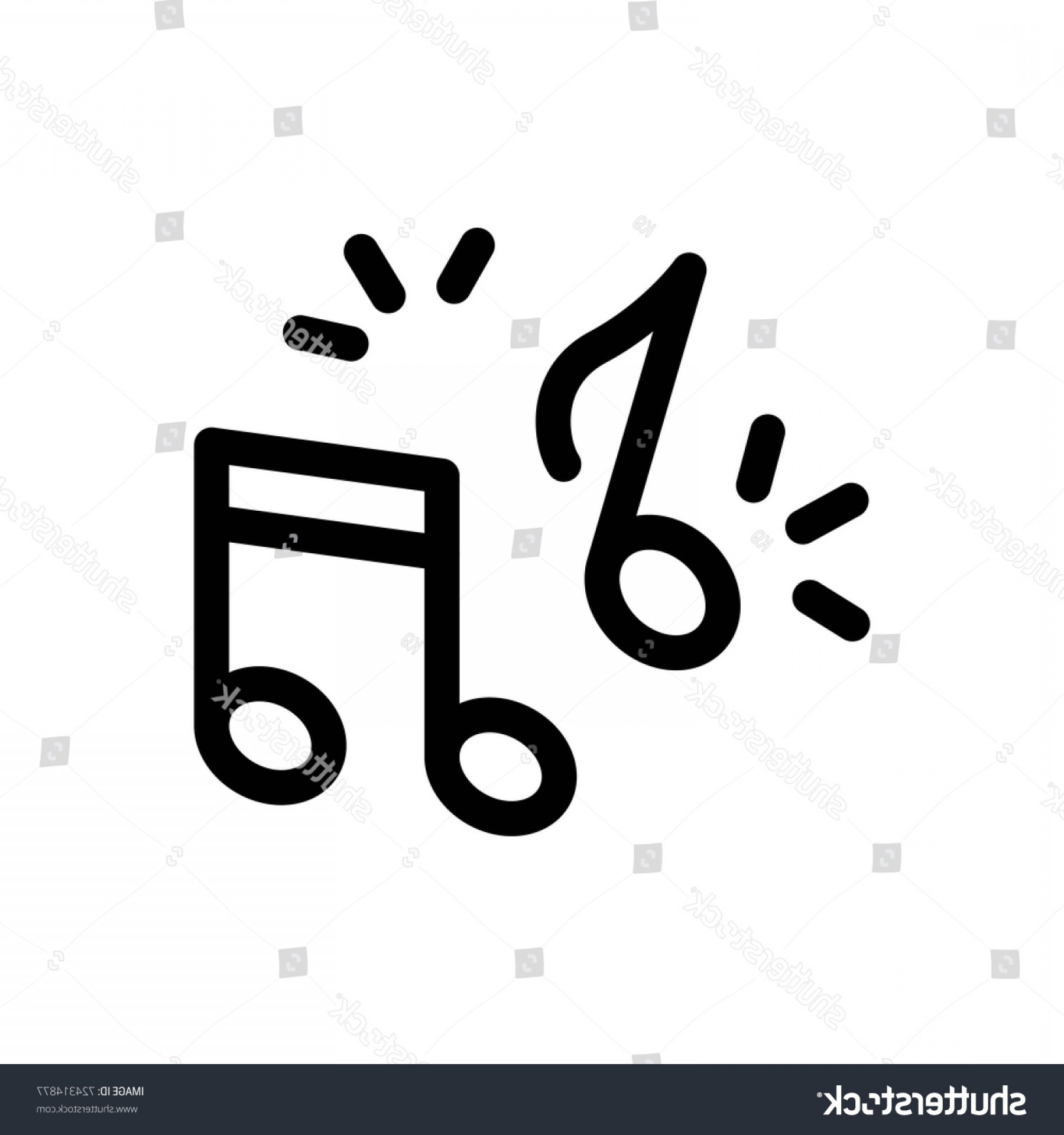 Abstract Vector Logo 512X512: Music Note Icon Vector Fat Design