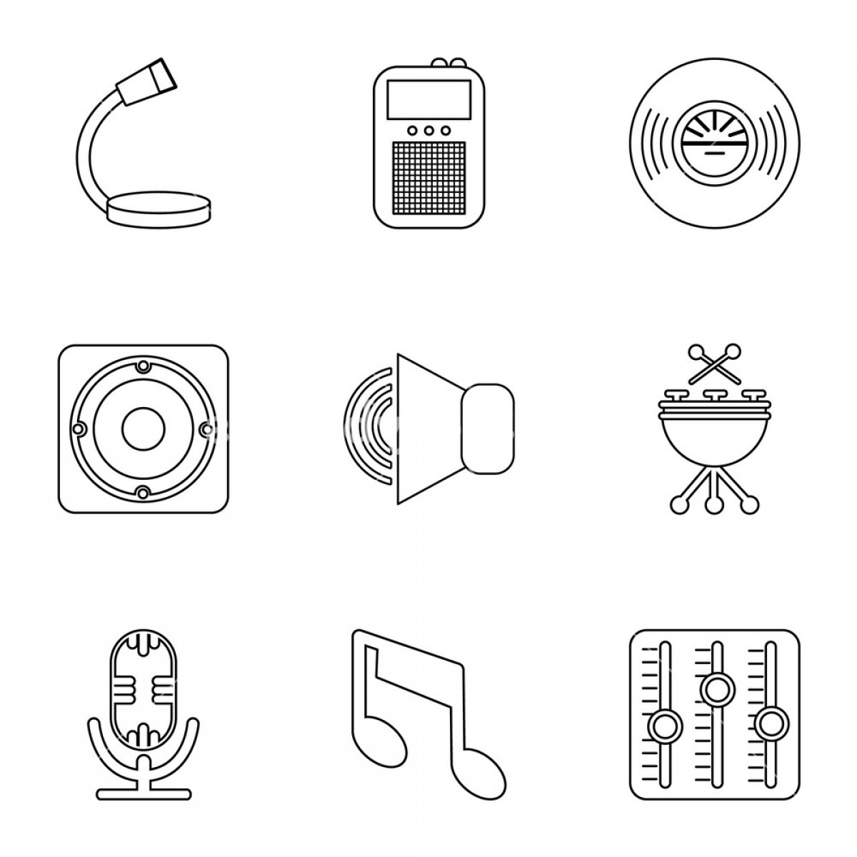 Rock Band Equalizer Vector: Music Player Icons Set Outline Set Of Music Player Vector Icons For Web Isolated On White Background Hgtelzfhgmjjygp