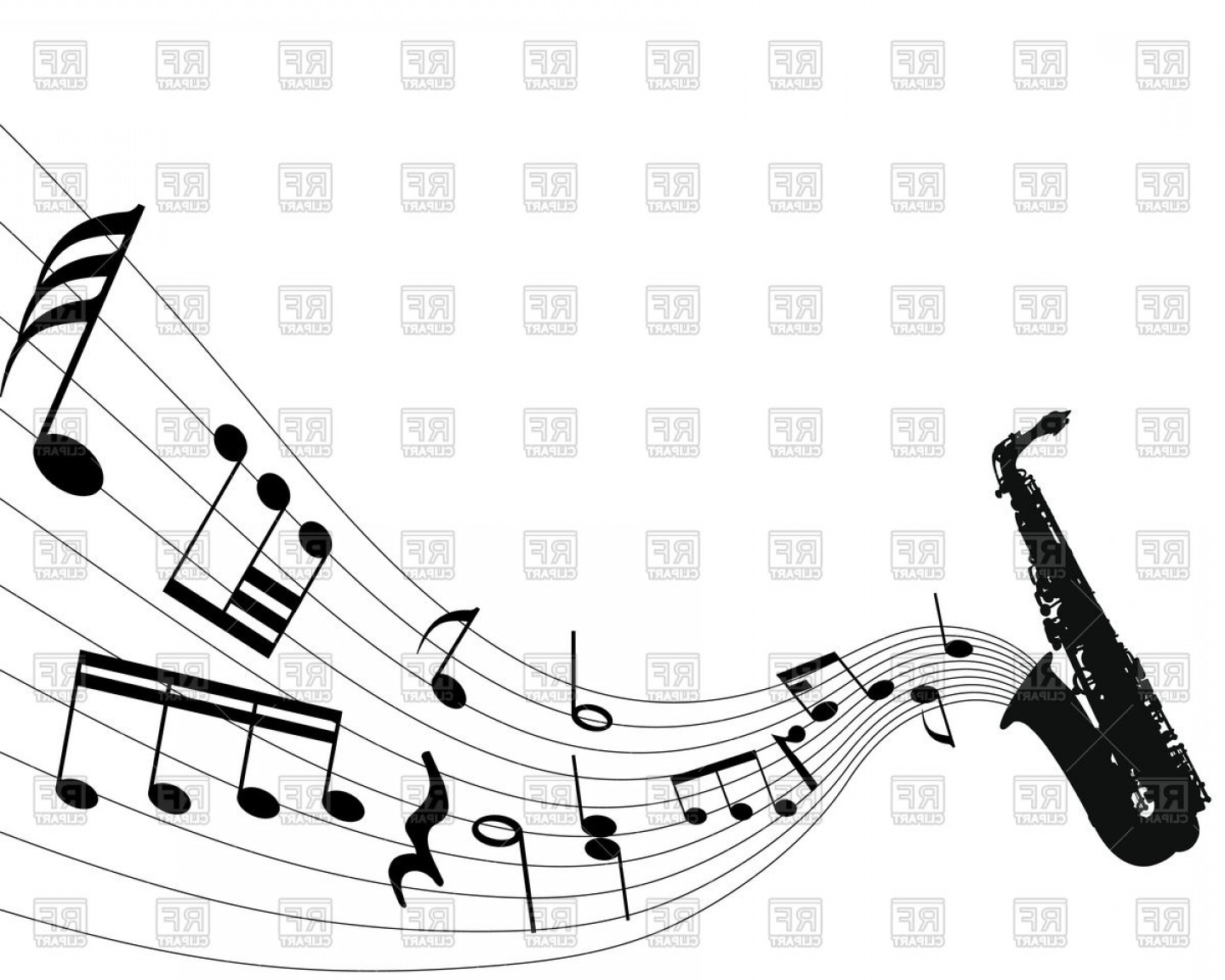 Saxophone Vector: Musical Notes From Saxophone Vector Clipart