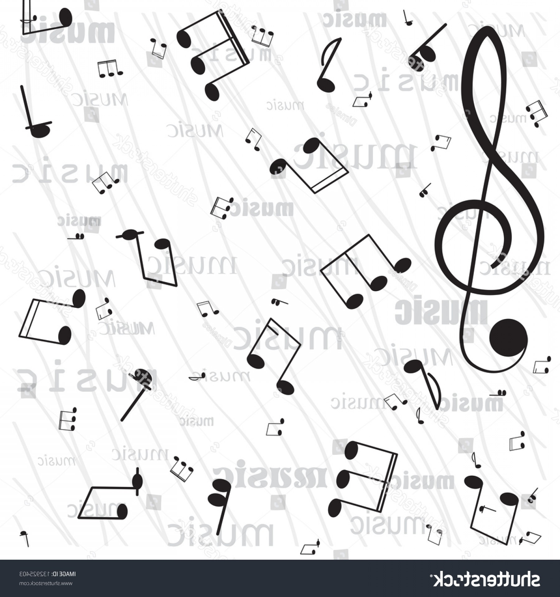 Flourish Music Note Silhouette Vector: Musical Notes Ornament Swirls On White