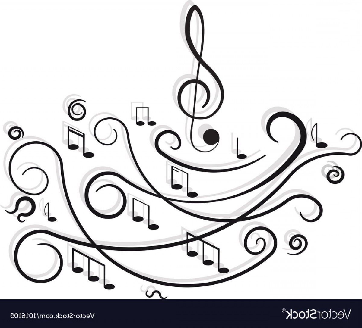 Flourish Music Note Silhouette Vector: Musical Notes Ornament With Swirls On White Vector