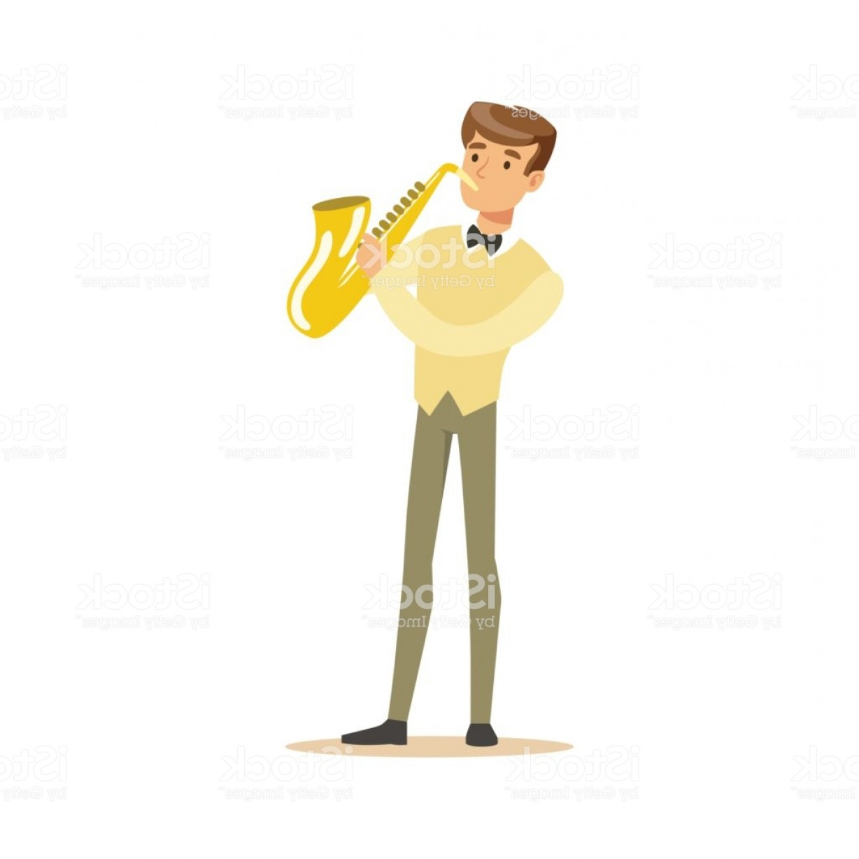 Saxophone Vector: Musician Playing A Saxophone Vector Illustration Gm