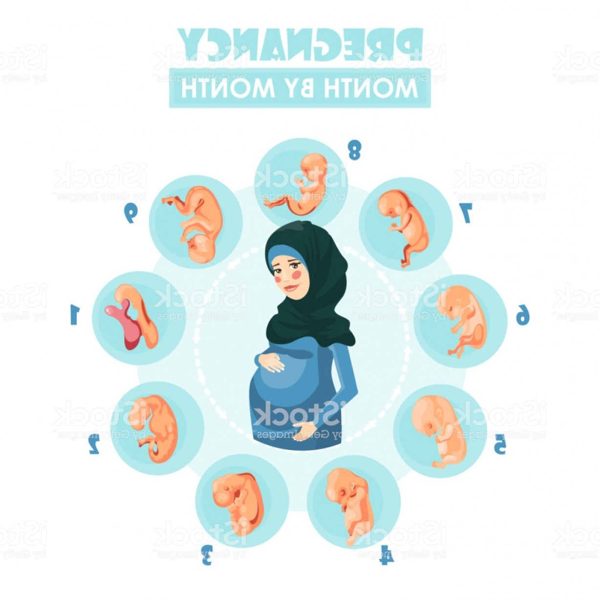 Pregnant Vector Art: Muslim Pregnant Woman Vector Colorful Illustration With Pregnancy Concept Gm