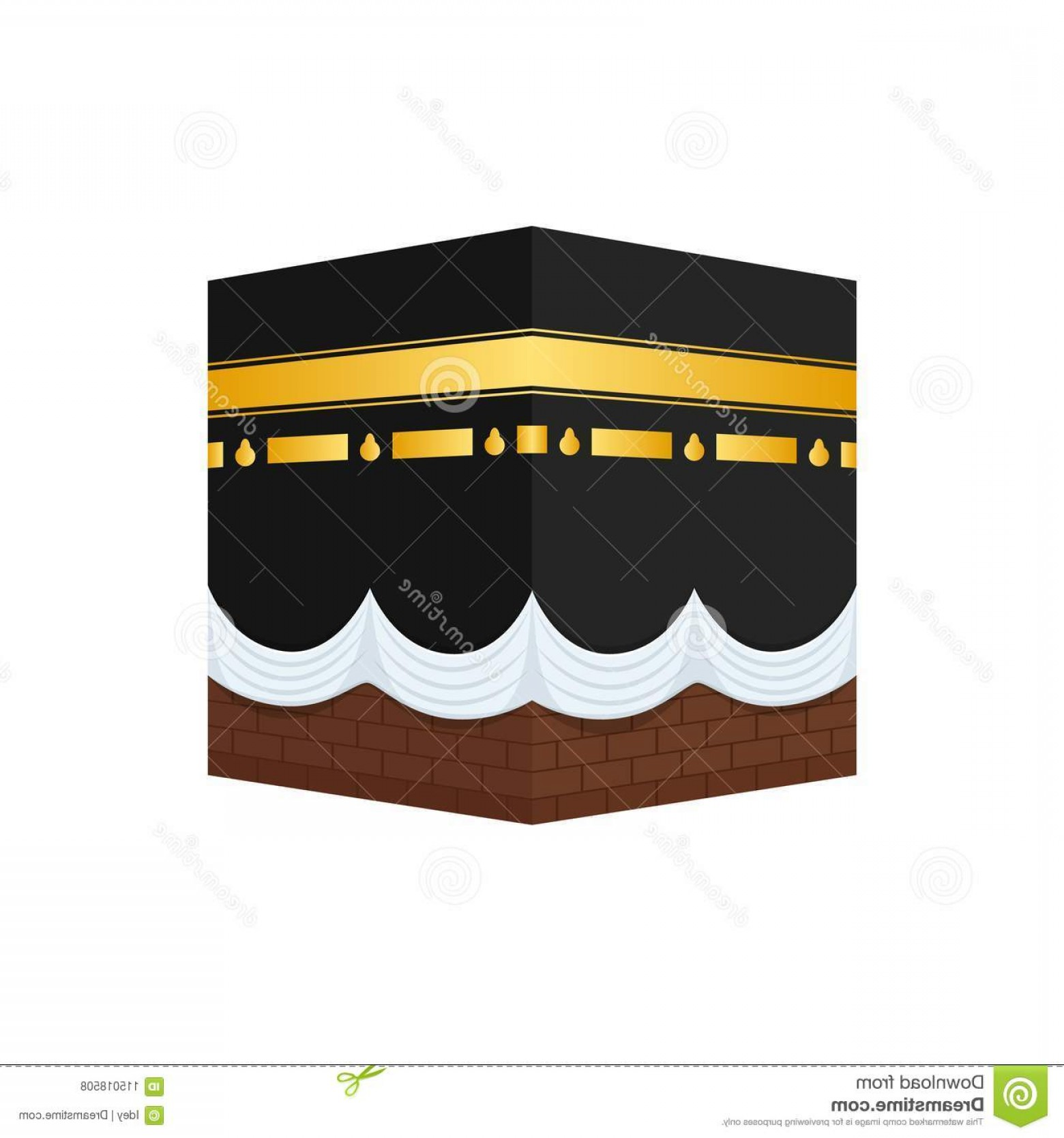 Vector Holy Shrine: Muslim Shrine Sharif Kaaba Courtyard Mosque Mecca Muslim Shrine Sharif Kaaba Form Cubic Construction Image