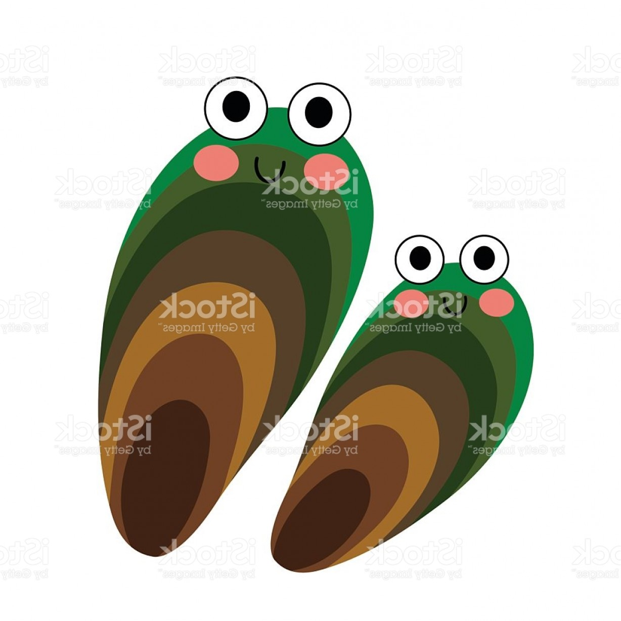 Vector Oyster Shooter: Mussel Animal Cartoon Character Vector Illustration Gm