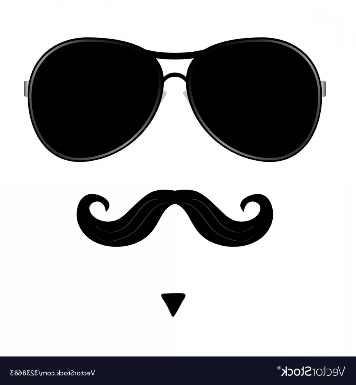 Mustache Face Vector: Mustache And Glasses On Face Vector