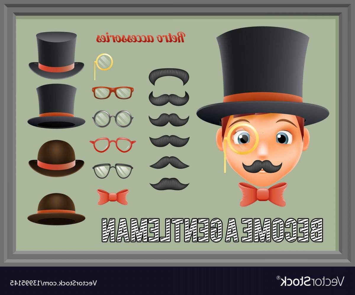 Victorian Vector Characters: Mustache Bow Glasses Top Hat Gentleman Victorian Vector