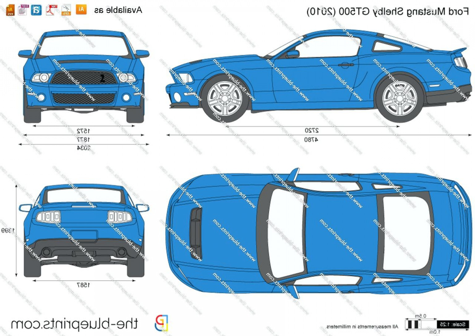 2005 Ford Mustang Gt Drawing Vector