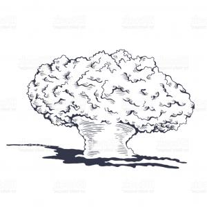 Atomic Vector Coud: Nuclear Explosion Mushroom Cloud Vector Clipart