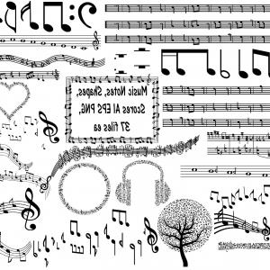 Music Notes Vector Graphics Ai: Musical Notes Scores Shapes Vector Ai Eps Png