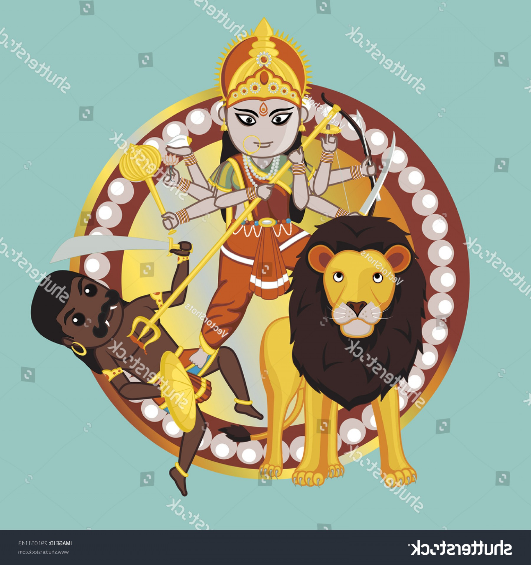 Faith Lions Vector Art Images: Mythology Indian Goddess Durga Mata