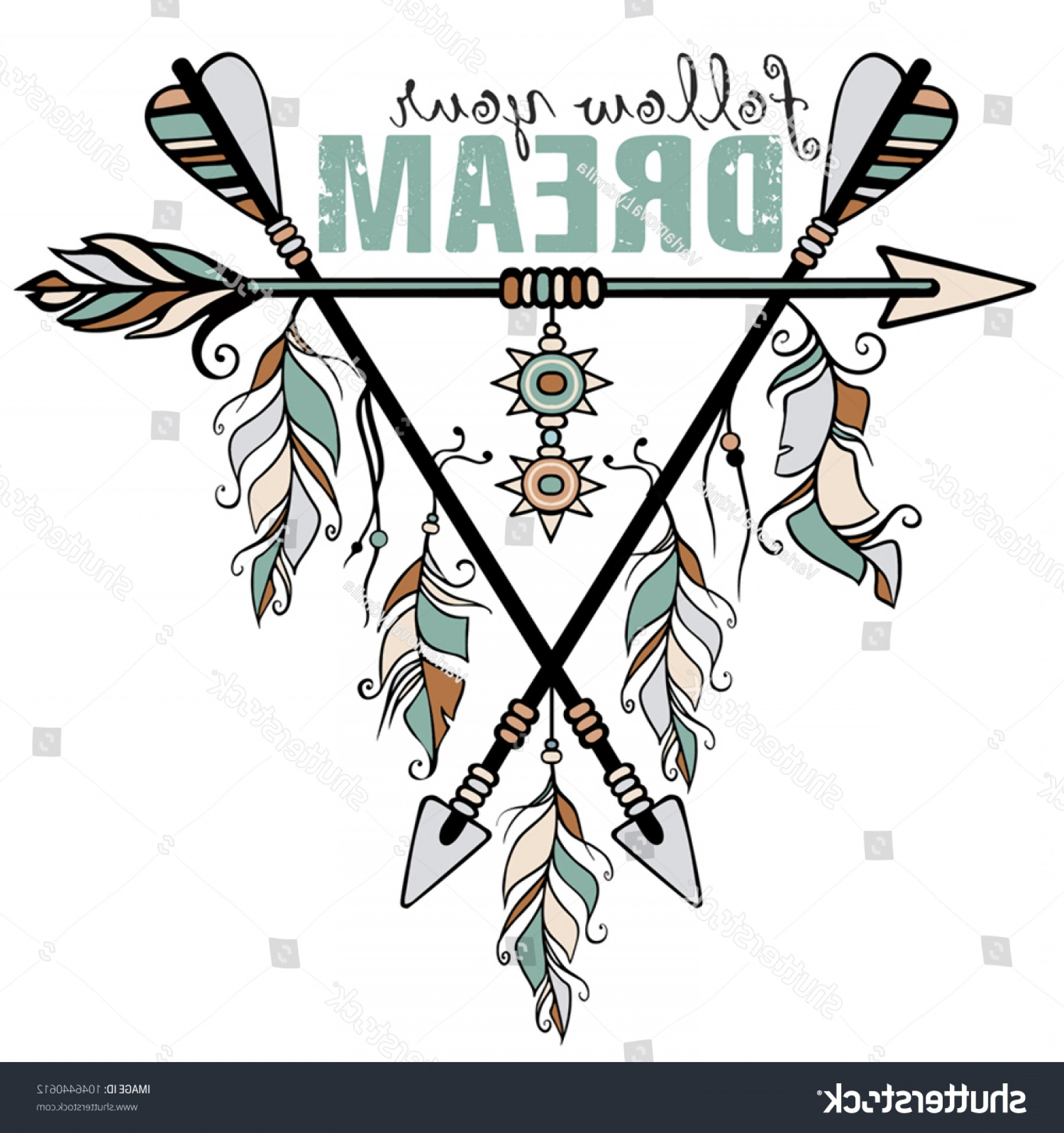 Vector Boho Arrow Strength: Native American Accessory Arrow Feathers Lettering