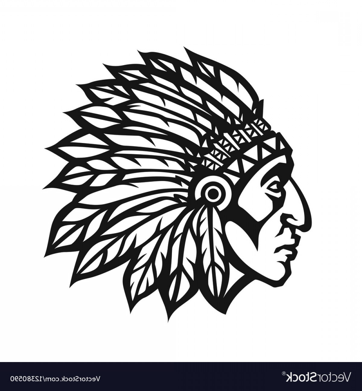American Indian Chief Vector: Native American Indian Chief Head Profile Mascot Vector