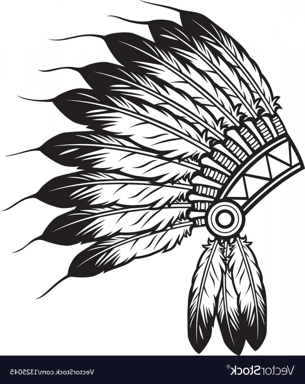 American Indian Chief Vector: Native American Indian Chief Headdress Vector