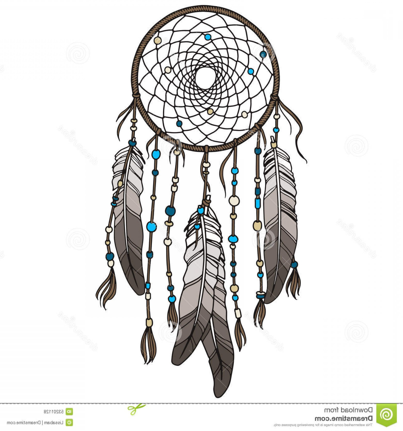 Dreamcatcher Tattoo Vector: Native American Indian Dreamcatcher Illustration