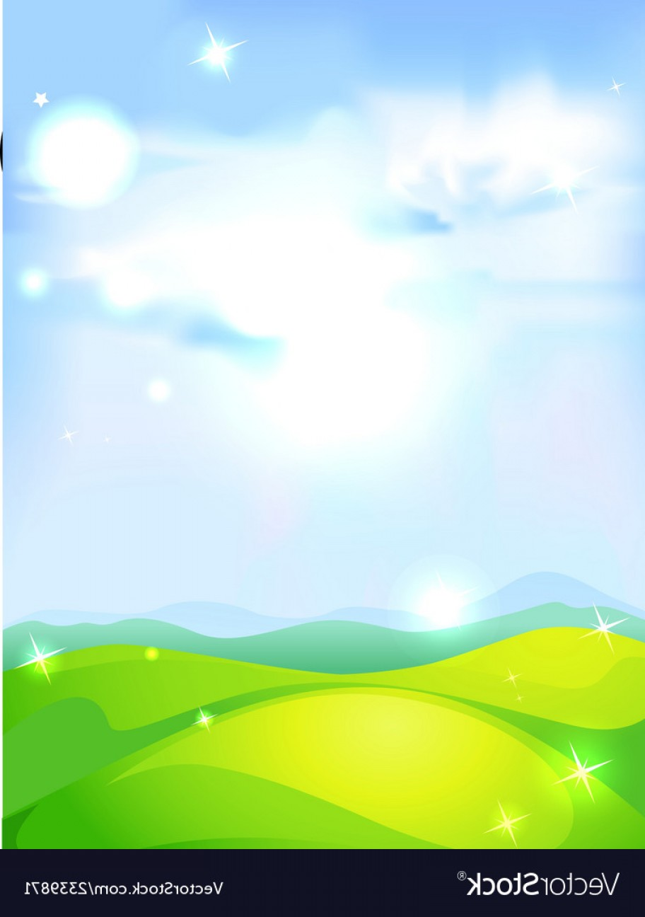 Vector Natural Background Sky: Natural Background With Blue Sky Green Meadow And Vector