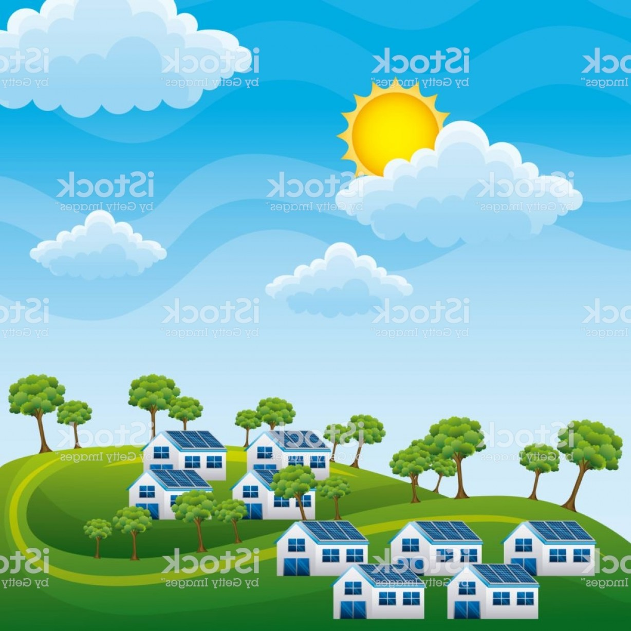 California Lifestyle Vector: Natural Landscape Hills Houses Panel Solar Trees Energy Clean Gm