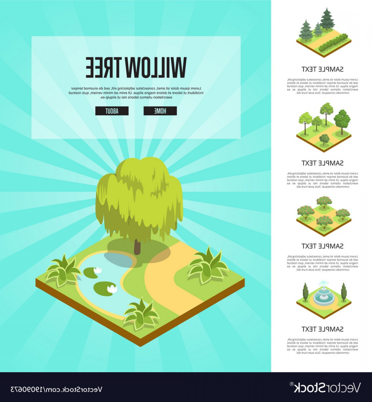 Vector Natural Willow: Natural Parkland Landscape With Willow Tree Vector