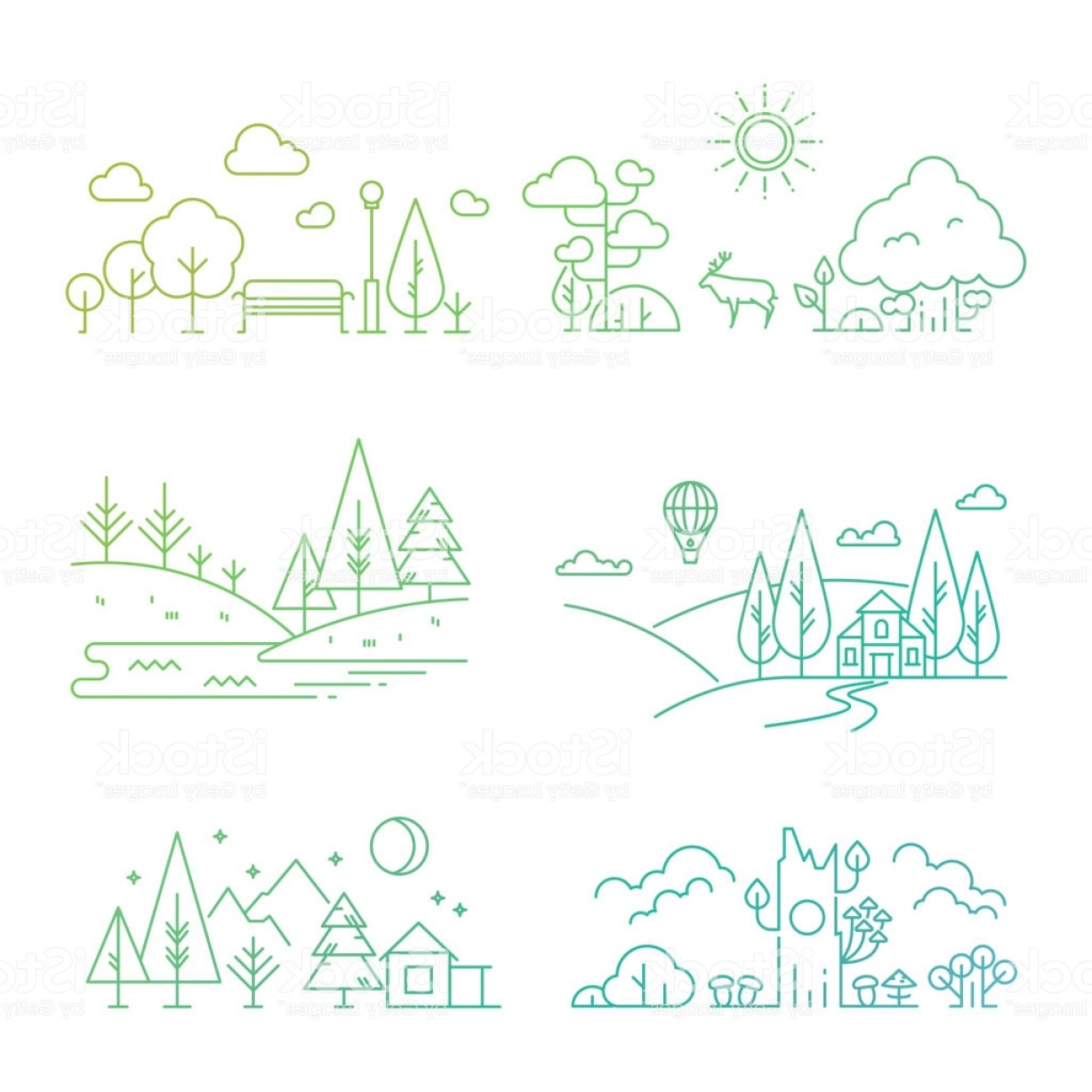 River Vector Art: Nature Landscape Icons With Tree Plants Mountains River Gm