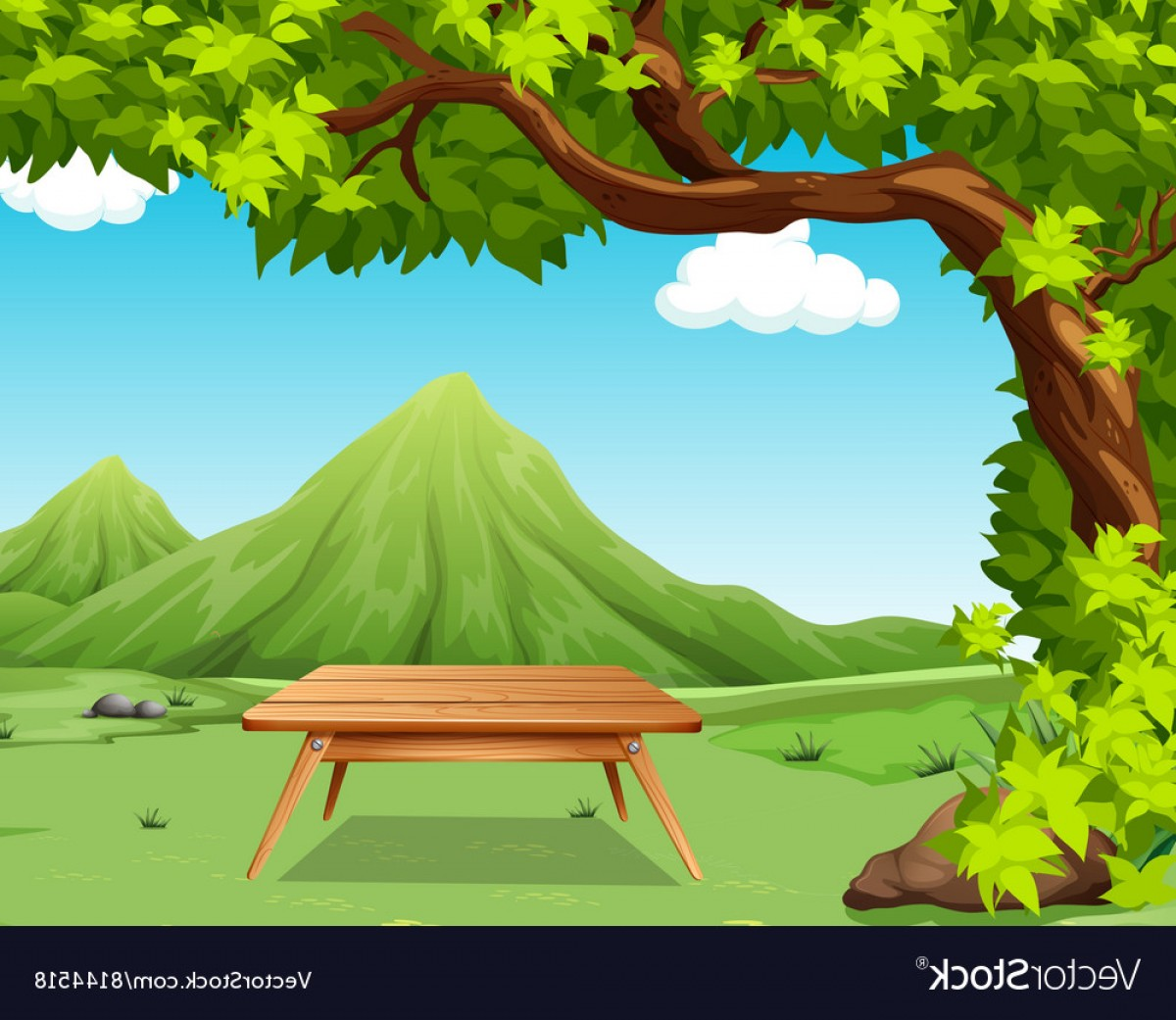 Picnic Vector Scenery: Nature Scene With Picnic Table In The Park Vector
